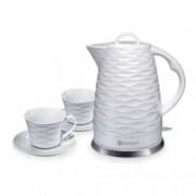 Електрическа керамична кана Rohnson R 7803 + 2 керамични чаши, вместимост 1.7 л., aвтоматично изключване, защита срещу прегряване и пускане без вода, 1500 W, бяла