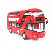 Mallya 1:50 Red Musical Double Decker London Model Diecast Bus Model Play Vehicle Toys For Kids