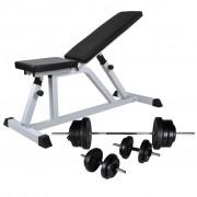 vidaXL Комплект лежанка с щанга и дъмбели, 60,5 кг