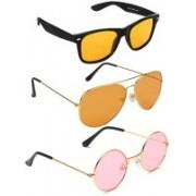 Elligator Aviator, Wayfarer, Round Sunglasses(Yellow, Orange, Pink)