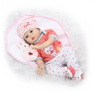 LILITH 22 Inch 55cm Realistic Cloth Body Soft Silicone Reborn Doll Lifelike Real Looking Reborn Baby Dolls Magnet Pacifier