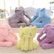 Soft stuffed Animal Elephant Short Plush Doll Cotton Cushion Pillow Cover Toy (Grey, Blue, Pink, Purple)