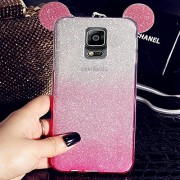 KC Unique Glitter Cute Ear Design Case for Girls & Ladies 2 in 1 Soft Transparent Back Cover for Samsung Galaxy Note 4 (Pink)