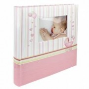 Album foto Baby Chart personalizabil poze autoadezive 100 pagini 32x29 cm roz