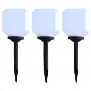 vidaXL 3 db kocka alakú fehér kültéri napelemes LED lámpa, 20 cm