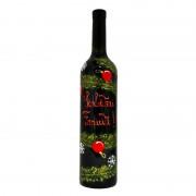 Sticla de vin pictata O, Brad Frumos!