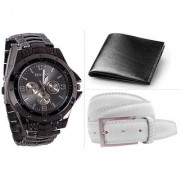 Jack Klein Combo of Round Dial Black Strap Stylish Analog Wrist Watch With Wallet And Belt