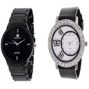 IIK Collection Men And Glory Black PU Butterfly Analog Couple Analog Watches For Men And Women