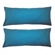 Set 2 Perne cervicale dreptunghiulare, 50 x 20cm, pline cu Puf Mania Relax, culoare albastru