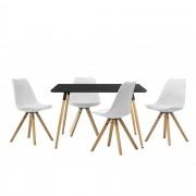 [en.casa] Mesa de comedor diseño - negro - Set de sillas con estilo elegante - blanco