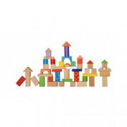 Set 100 Jucarii Forme din Lemn EcoToys Diverse Forme Geometrice Multicolore