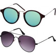 Freny Exim Aviator Sunglasses(Green, Violet)