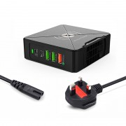 PD-75W Type C+USB A+PD+QC3.0 Fast Charger Wireless Charger for iPhone Samsung Huawei - UK Plug
