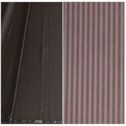 Kundan Sulz Gwalior Men's Executive Pure Cotton Stripe Pattern Linen Shirt Fabric & Fancy Formal Dark Brown Color Shining Pattern Trouser Fabric Combo Set ( Pack of 1 Pant and Shirt Piece )