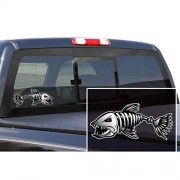 ELECTROPRIME® 2pcs Black Red Skeleton Fish Boat Decals Stickers Fishing Boat Graphics