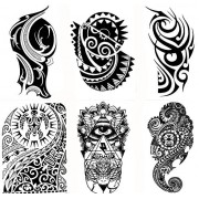6 Large Tribal Temporary Tattoos Realistic Designs for Arm/Back/Shoulder Waterproof Body Art Removable Black Tattoo