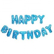 Happy Birthday Letters Foil Balloon Combo with 50 Metallic Balloons Blue Silver (25 each)