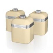 Set 3 Cutii Depozitare Retro pentru Bucatarie, Swan SWKA1020CN, Design Retro, Material Metal