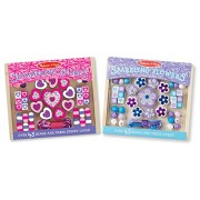 Melissa and Doug Small Bead Set Bundle - Flowers and Hearts, Multi Color