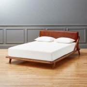 Drommen Acacia Queen Bed with Leather Headboard by CB2