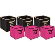 Billion Designer Non Woven 6 Pieces Small & Large Foldable Storage Organiser Cubes/Boxes (Black & Pink) - CTKTC35365 CTLTC035365(Black & Pink)
