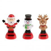 Phenovo 3Pcs Solar Powered Dancing Animal Toy Snowman Reindeer Santa Claus Bobblehead Bobble Head Bobbling Dancing Toys, Desk Office Car Dashboard Figure