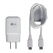 Cargador Cubo Original LG Tipo C Carga Rápida Cable MCS-04WR - Blanco