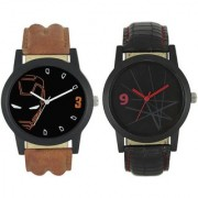 KDS Men New Stylish Met Black and Helmet Leather Strap WatchFX-MW-007-012