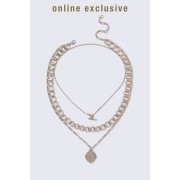 ''Gina Tricot'' ''Gold Look T-Bar Coin Necklace'' Gold short