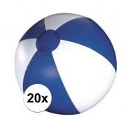 Merkloos 20x Blauw en witte strandbal 30 cm
