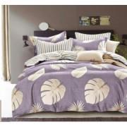 Lenjerie de pat set 4 piese Casa de Vis 2 persoane Bumbac Finet Mov/Multicolor