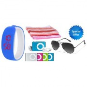 Combo of Blue Bangle Led Watch Mp3 Player Glasses And 2 Hand Towels
