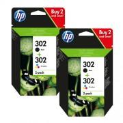 HP 302 Promo-Pack zestaw czarny / rózne kolory oryginał 2x X4D37AE