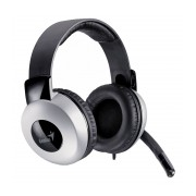 Casti stereo Genius HS-05A cu microfon, negre cu argintiu