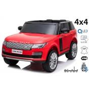 Mașinuță electrică pentru copii RANGE ROVER, roșu, scaun dublu din piele, ecran LCD cu intrare USB, 4x4, baterie 2x 12V7Ah, roți EVA, suspensii, pornire cu cheie, telecomandă Bluetooth de 2,4 GHz
