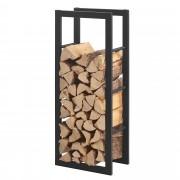 [en.casa] Stalak za Drva 40x100x25cm Držač za Drva za Ogrjev - Okvir Čelik Crni