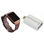 Zemini DZ09 Smart Watch and Smart OTG for SAMSUNG GALAXY MEGA 2(DZ09 Smart Watch With 4G Sim Card Memory Card| Smart OTG)