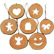 Set decoratiuni de craciun cu motive din felii de lemn New Way Decor - 24 bucati