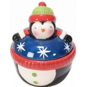 Borcan Craciun ceramic decorativ cu capac model Pinguin and Oslash 9 cm x 10 H