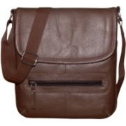 Kan Genuine Leather Small Travel Bag/Shoulder Bag For Men and Women Small Travel Bag - Medium(Brown)