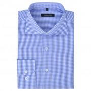 vidaXL Camisa negócios p/ homem aos quadrados branca e azul claro, L