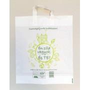 400 x 460 x 0,05 mm-es szalagfüles táska, kukoricakeményítős (PLA, politejsav) lebomló, környezetbarát, komposztálható