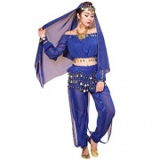 Blue : Womens Belly Dance Costume, Culater® Elegant Indian Dancing Costume Set Performance Outfit Shiny Top + Pants (Blue)