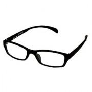 Black-Black Frame Rectangle Unisex Eyeglasses