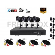 Kit videosorveglianza DVR 4 canali Cloud Hdmi Vga Telecamere Sony 1000TVL 24Led