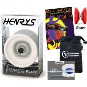 Henrys VIPER FLUX Pro YoYo (White) Professional Off String (4A) Bearing YoYo +Instructional Booklet of Tricks + Original Spin YoYo Tricks DVD (75 Tricks to Learn!) & Travel Bag! Top Of The Range YoYo! Pro YoYos For Kids and Adults!
