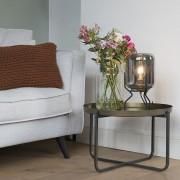QAZQA Designerska lampa stołowa czarna przydymione szkło - Bliss