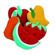 Vinayaka Soft Toy Cushions Fruit Shape (Set of 5 Different Fruits) Velvet Material with Fiber Filling (Size: 14 inches Each).