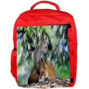 Snoogg Eco Friendly Canvas Family Fox Designer Backpack Rucksack School Travel Unisex Casual Canvas Bag Bookbag Satchel 5 L Backpack(Red)