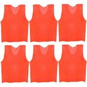 SAS Sports Training Bibs Scrimmage Vests Pennies for Soccer - Medium size (60 x 48cm) Orange color Set of 6